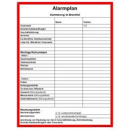 Alarmplan Aushang Zum Download Universum Shop 14