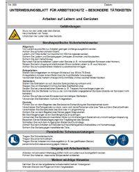 Download Dokument Arbeiten auf Leitern und Gerüsten Unterweisungsblatt für Arbeitsschutz