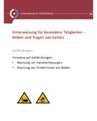 Download Dokument Unterweisung für besondere Tätigkeiten - Heben und Tragen von Lasten
