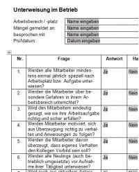 Unterweisung im Betrieb - Checkliste zum Download