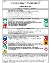 Download Dokument Grundunterweisung - Unterweisungsblatt für Arbeitsschutz