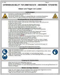 Download Dokument Heben und Tragen von Lasten - Unterweisungsblatt für Arbeitsschutz
