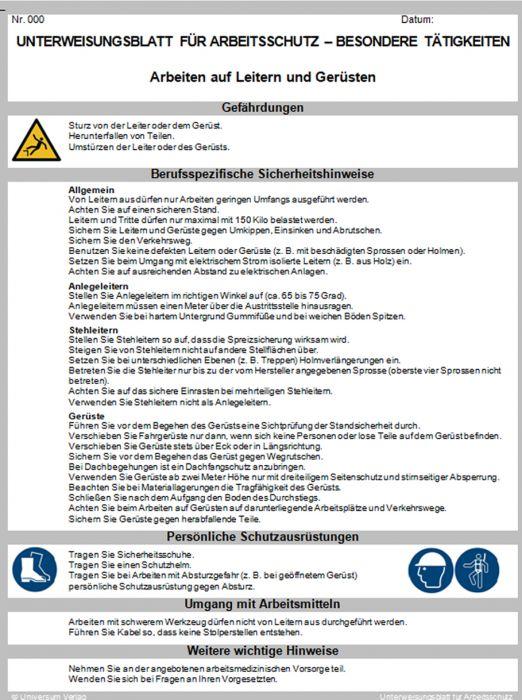 Hausmeister Unterweisungsblatt Zum Download Universum Shop