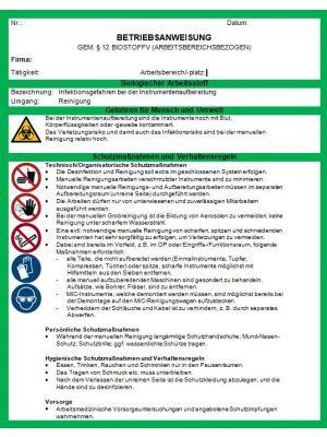 Vorlagen-Paket: Gesundheitswesen - Betriebsanweisungen Download